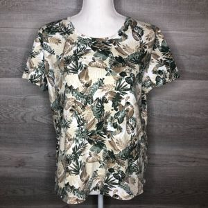 Petite Laura Scott Top Tan & Green Size XL